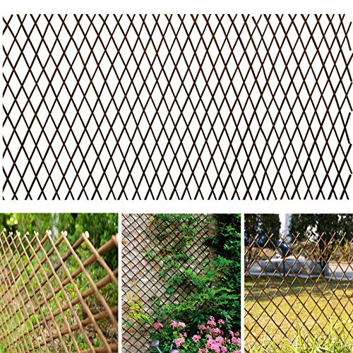 - Melchef Nature Willow Trellis Expandable Plant Support Plant Climbing Lattices Trellis Willow Expandable Trellis Fence for Climbing Plants Support 36x92 Inch,Double Panel