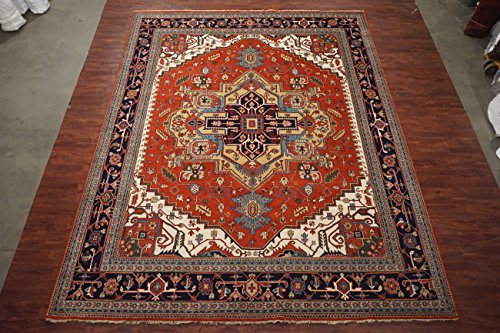 Antiqued 12X15 Heriz Serapi Persian Hand-Knotted Veg' Dye Area Rug Wool Carpet (T)