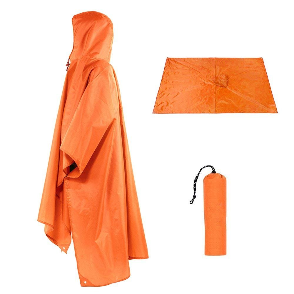 Vacio Outdoor Raincoat Waterproof, 3 in 1 Multifunctional Rain Poncho Travel Rain Poncho with Hood for Backpack Awning Climbing Camping Hiking Waterproof Camping Tent Mat(Orange)