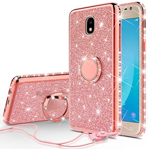 Usa Phone - [GW USA] Glitter Cute Phone Case Girls Kickstand for Samsung Galaxy J3 2018/J3 Star/J3 Achieve/J3v 3rd Gen/Express Prime 3/Amp Prime 3 Case,Bling Diamond Bumper Ring Stand Thin Soft Sparkly,Rose Gold