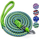 WYuZe Mountain Climbing Rope Dog Leash Soft Handle Reflective Nylon Braided Heavy Duty Dog Training Leash 4ft/6ft (6 Feet, Green)