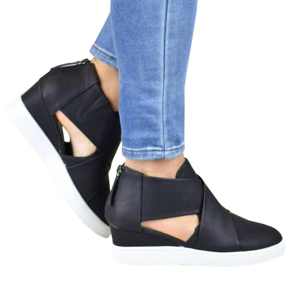 Ermonn Womens Fashion Platform Sneakers Cut Out Cross Strappy Back Zipper Wedge Booties