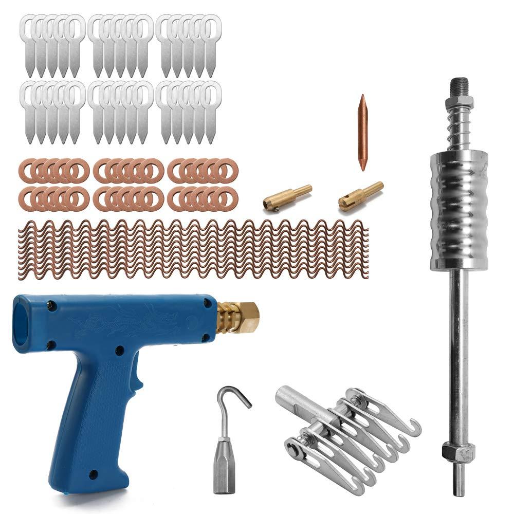 KKmoon 77pcs Stud Welder Dent Repairing Kit Pulling Claw Shrinking Welder Machine Slide Hammer Puller Straight Rull Rings Round Washers Wiggle Wires