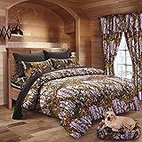 20 Lakes Super Soft Microfiber Hutner Camo Comforter, Sheet, Pillowcase Set (King, Lavender & Black)