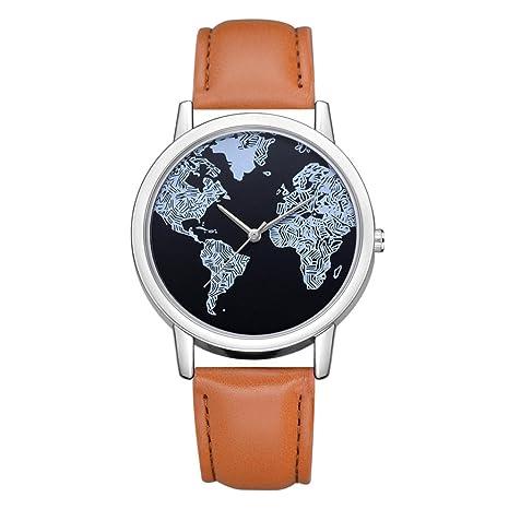 beuu 2018 mundo mapa correa de cuero reloj nuevo precio al por mayor de moda de