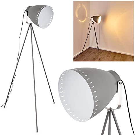 Lámpara de pie Tanhua de metal gris y níquel mate - Lámpara de pie antigua - Proyector para dormitorio, salón, comedor - con pantalla grande giratoria ...