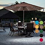 Sundale Outdoor Solar Powered 32 LED Lighted Patio Umbrella Table Market Umbrella with Crank and Push Button Tilt for Garden, Deck, Backyard, Pool, 8 Steel Ribs, 9 Feet, Coffee