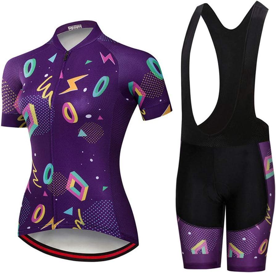 Damen Bike Jersey Set,schnell trocknende,atmungsaktive Kurzarm-Fahrrad-Radtrikots Sommer-Anti-Schwei/ß-Mountain Road-Fahrradhemd