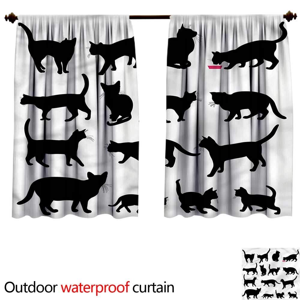color02 W55\ color02 W55\ BlountDecor Sun Block Outdoor curtainAnti-Water W55 x L72(140cm x 184cm) Cat,Black Kittens Pets Paws