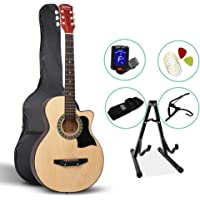 Alpha 38 Inch Wooden Acoustic Guitar Set - Natural