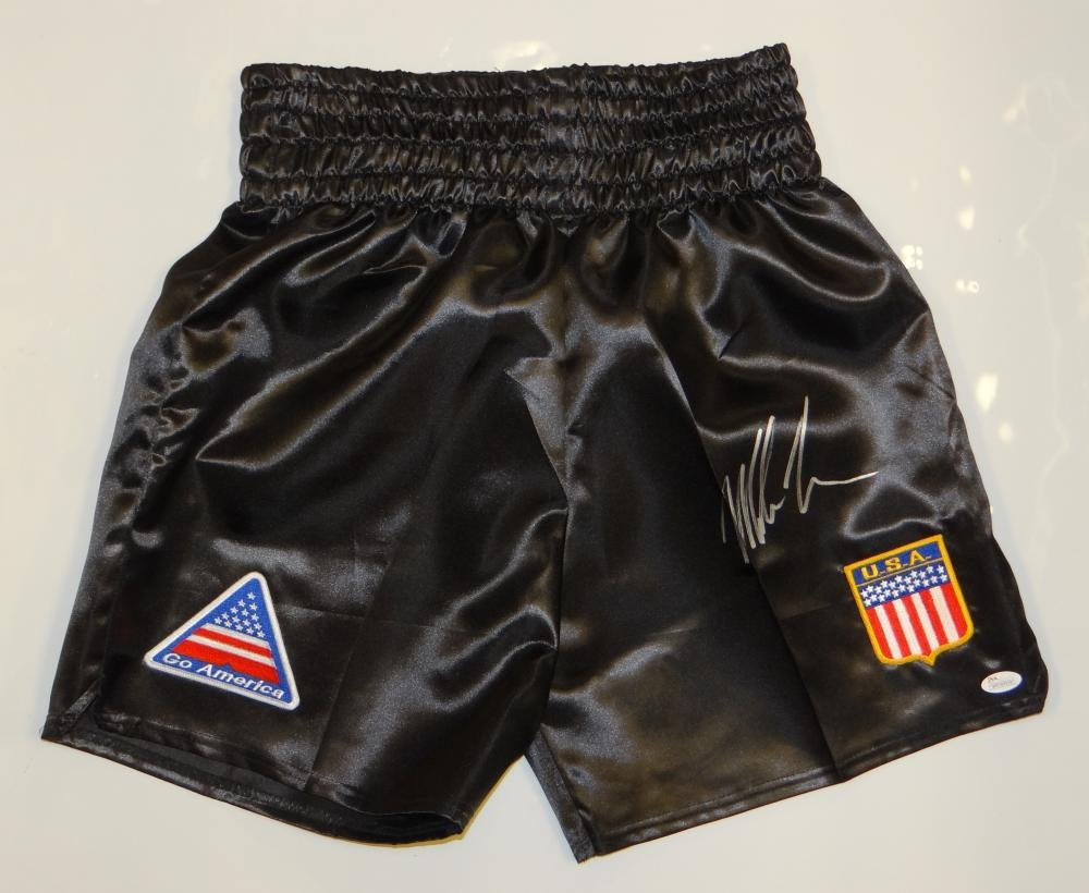 Mike Tyson Autographed Black Boxing Trunks w/Patches- JSA Witnessed Authenticated