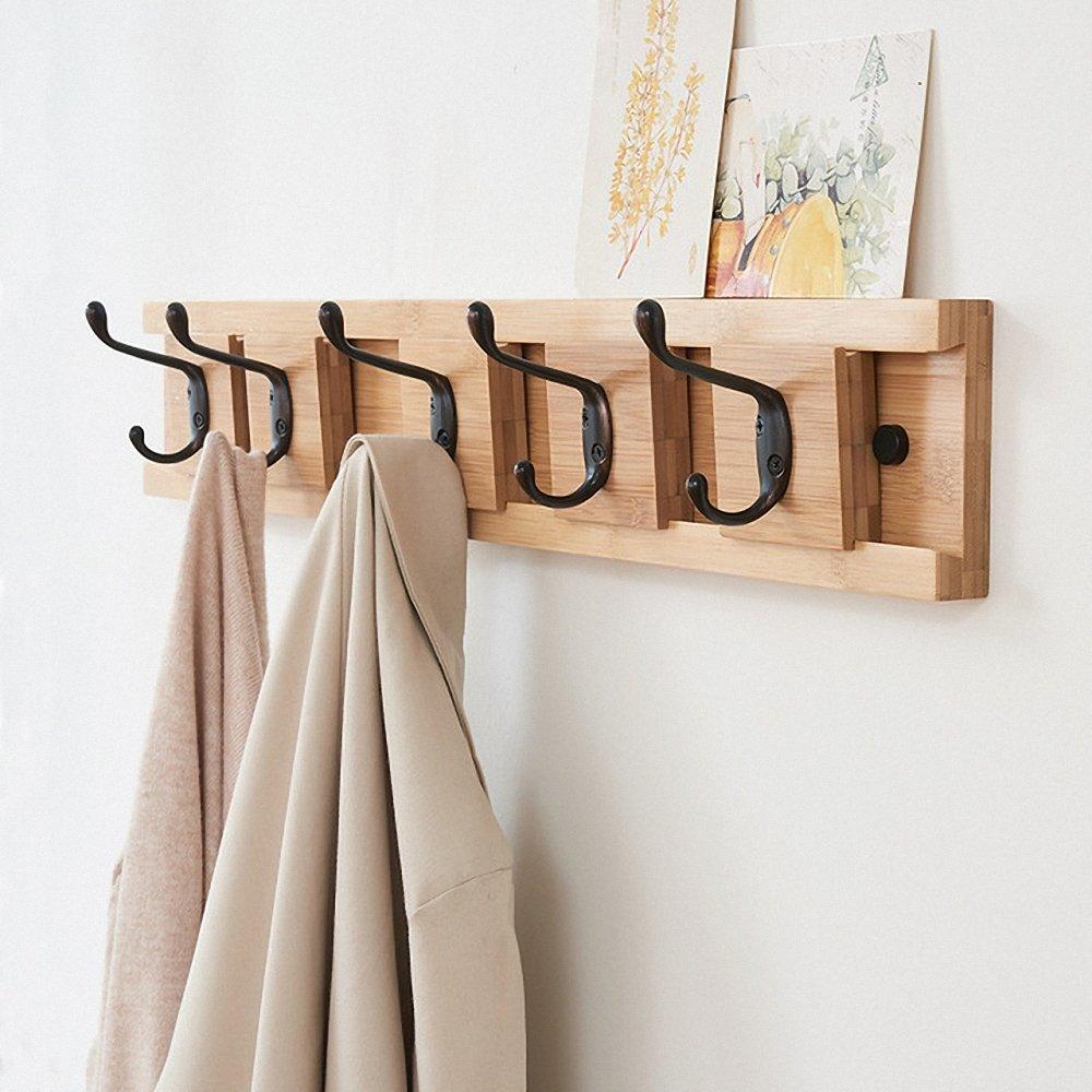 Genenic Removable Hanging Coat Wall Mounted Coat Rack Hooks Bamboo