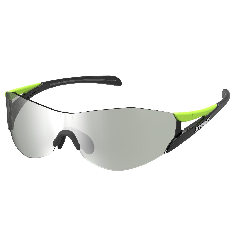 SWANS(スワンズ) スポーツ サングラス ソウ2 SOU2 (ランニング マラソン サイクリング アウトドア) 0702 ライムグリーン×ブラック/シルバーミラー×ライトスモークレンズ