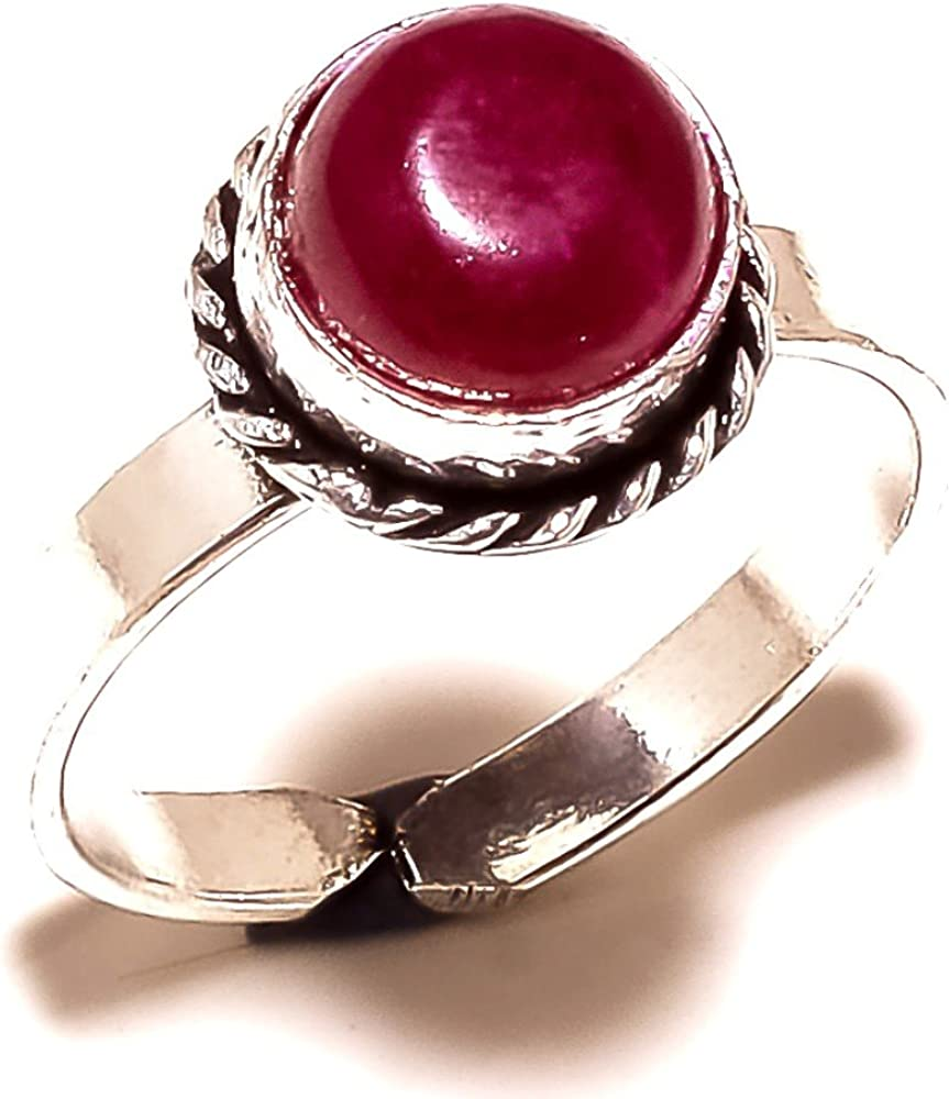 Sizable Gorgeous Red Dyed Ruby Sterling Silver Overlay 4 Grams Ring Size 7.5 US