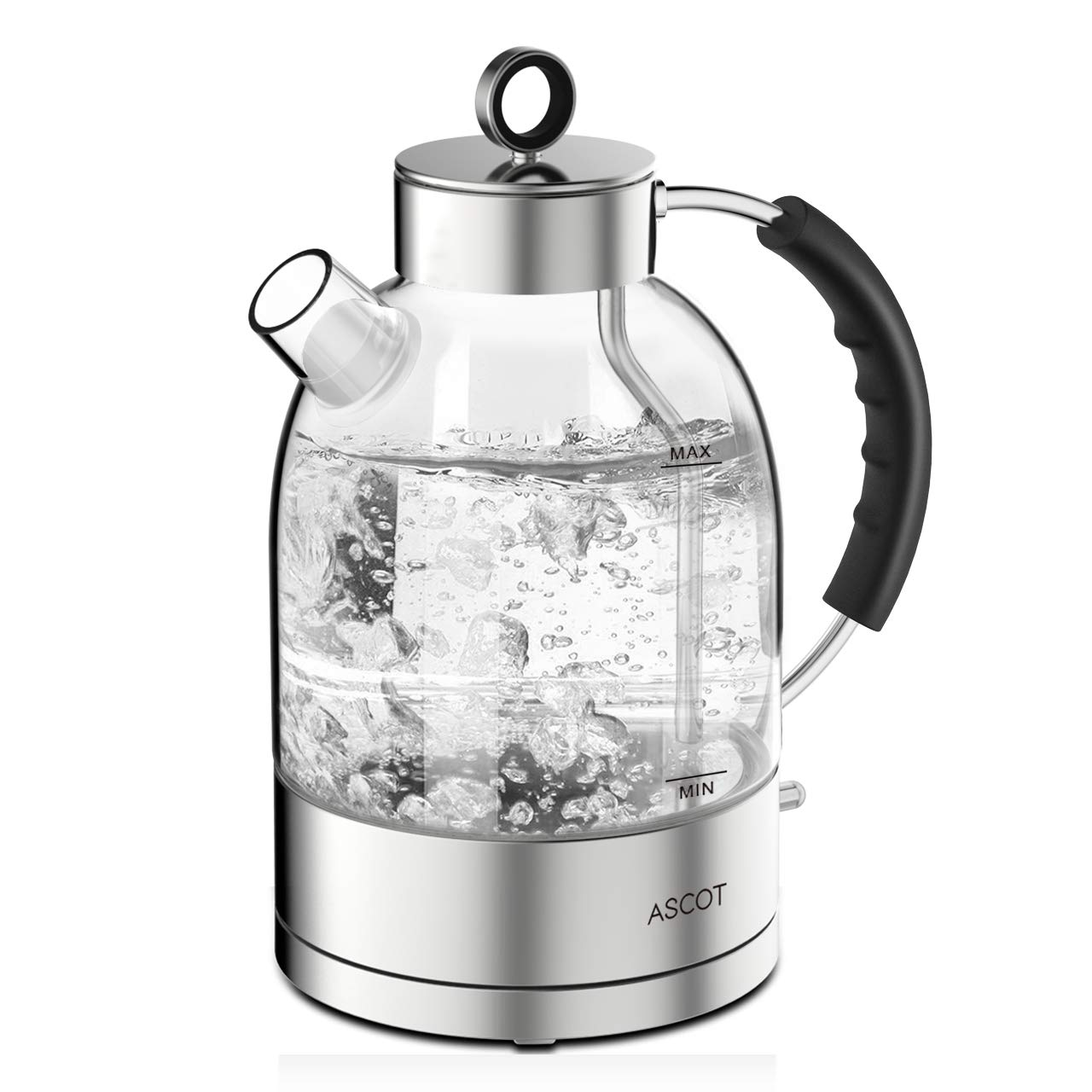 ASCOT KE1003 Electric Kettle, Hot Water Boiler with 304 Stainless Steel, LED Light, Cordless Glass Teapot with Auto Shut Off & Boil-Dry Protection, 1.6 L, Clear