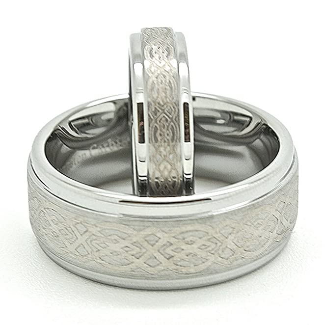 matching silver wedding bands. amazon.com: matching 5mm \u0026 9mm tungsten celtic knot wedding bands (see listing for sizes): jewelry silver n