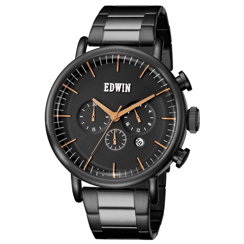 Edwin ew1g013 m0074 Herren Element Zwei Ton Armband Band Schwarz Zifferblatt Armbanduhr