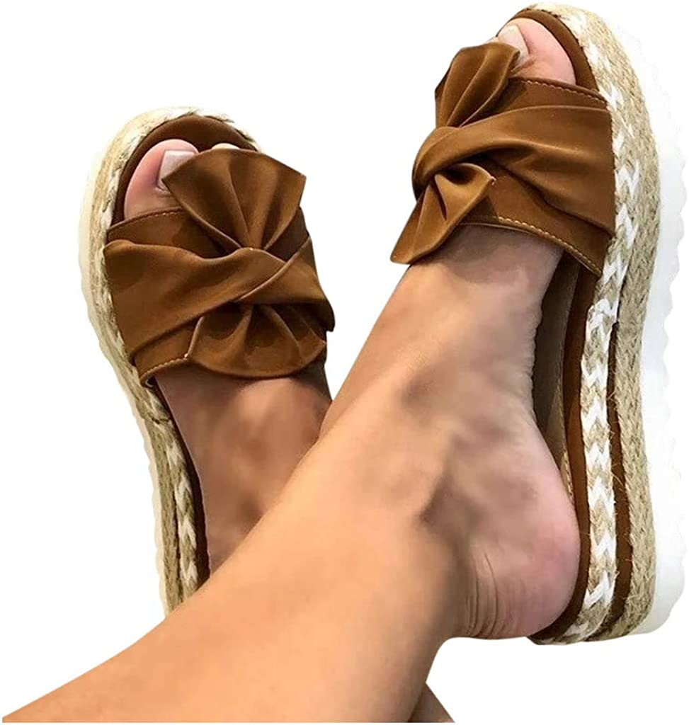 ZYAPCNGN Women Wedges Slippers Slip-On Platform Slippers Pumps Sandals Open Toe Breathable Shoes