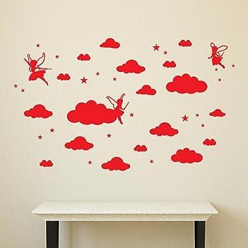 Uberlegen Wand Aufkleber | Erthome DIY Elfen Engel Große Wolken Wandtattoos Kinderzimmer  Dekoration Kunst (Rot)