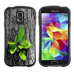 Suave TPU Caso Carcasa de Caucho Funda para Samsung Galaxy S5 SM-G900 / Beautiful Nature Tree Fresh Leaves Grow / STRONG