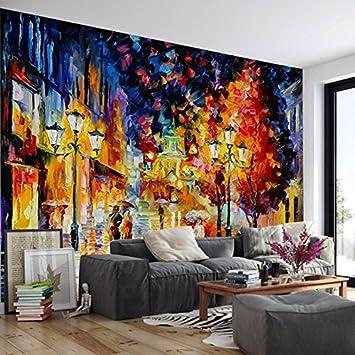 HUANGYAHUI Wandbilder Öl Malerei Straße Baum 3D Wallpaper Wandmalereien  Hotel Cafe Balkon Tv Hintergrund Tapete