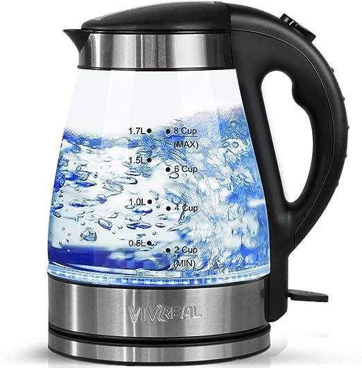 Wasserkocher aus Glas mit blauem LED Licht 1,7 Liter 2200W