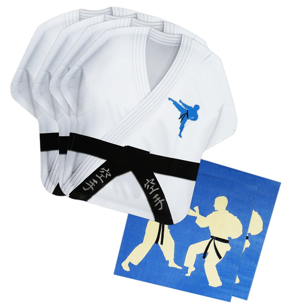 Karate Shaped Plate & Napkin Sets (70+ Pieces for 32 Guests!), Karate Party Supplies, Martial Arts Birthday Decorations, Tableware Sets