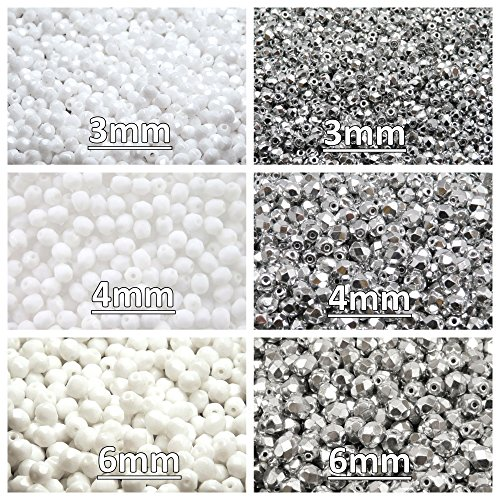 Glass Beads Round 3mm, 4mm, 6mm, Two Colors. Total 500 pcs. Set 2CFP 007 (3FP006 3FP033 4FP033 4FP055 6FP033 6FP043) ()