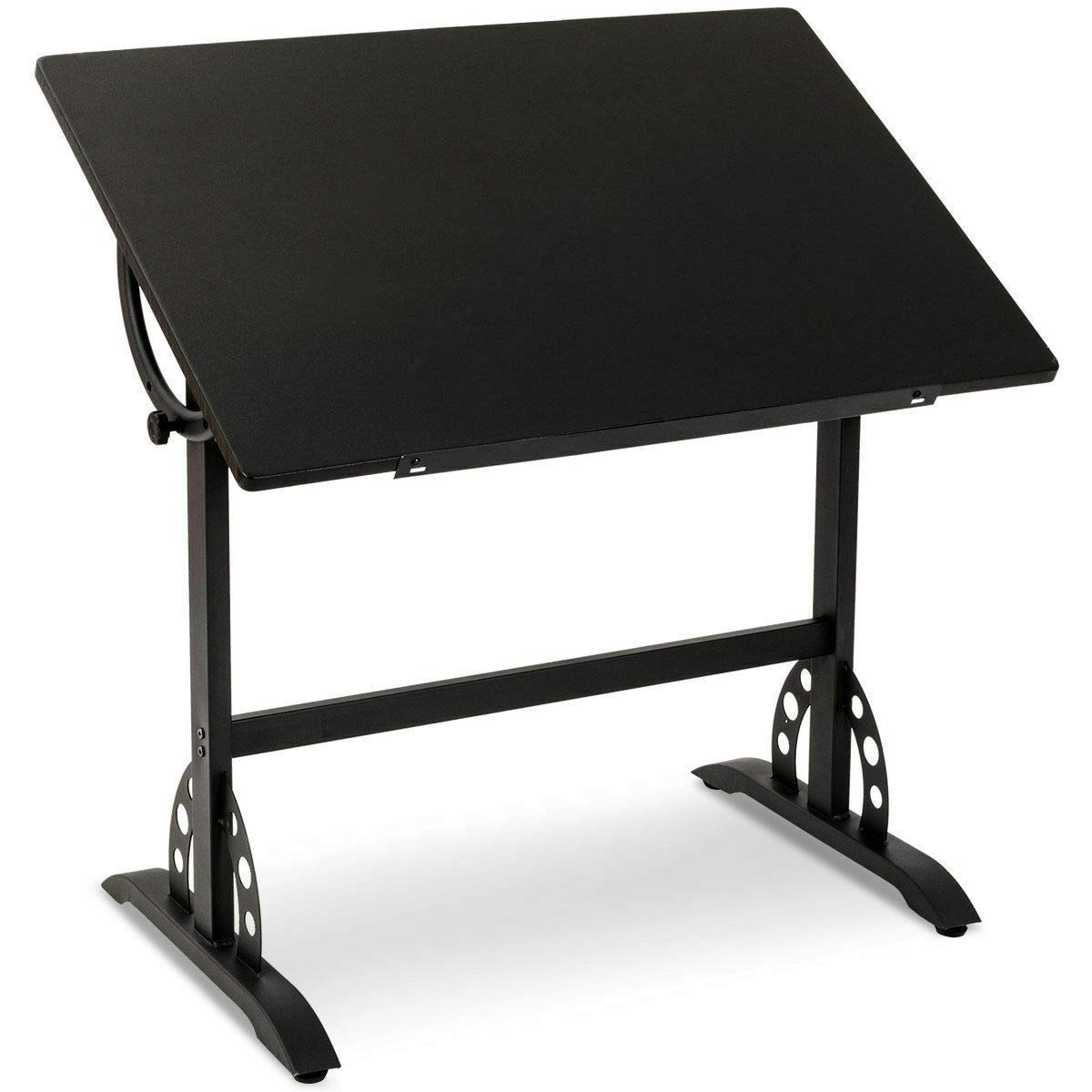 35.5Inch Adjustable Drawing Desk Office Drafting Table Art Craft Station Hobby with Metal Frame Black with Ebook