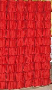 Spring Design Flamenco Ruffle Shower Curtain (RED)