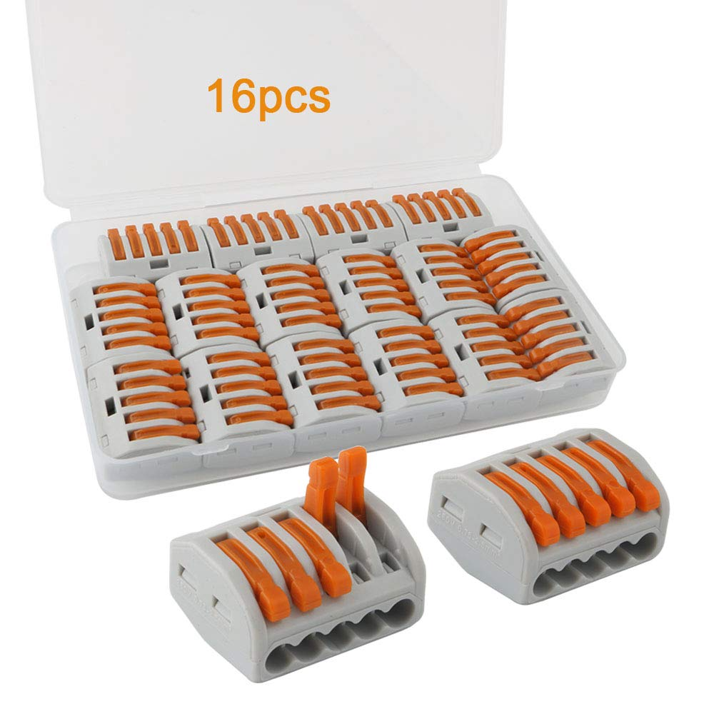 FULARR 16Pcs Premium PCT-215 Resorte Conector Bloque Terminal, Conector Conductor Compacto, Rápido Cable Conector Bloque Terminal –– 5 Puertos Rápido Cable Conector Bloque Terminal -- 5 Puertos