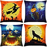 Elyhome Halloween Pillow Covers 18x18 Set of 4 Cotton Linen Burlap Throw Pillows Decorative Square Cushion Cover