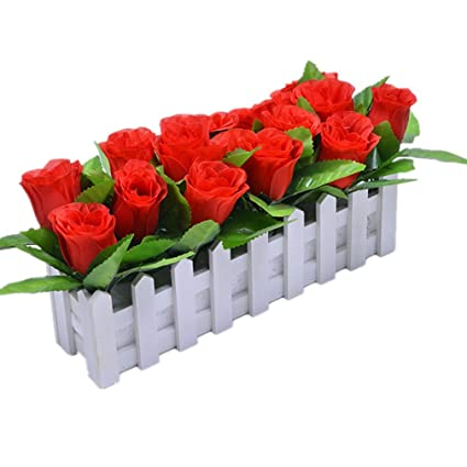 Artificial & Dried Flowers Wedding Decor Artificial Tea Rose Simulation Artificial Flowers Small Potted Plant Fake Rose Set With White Picket Fence