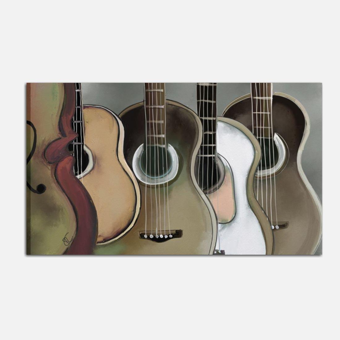 Cuadros pintados a mano acrílico sobre lienzo modernos Música guitarras figurativo Casa Muebles Oficina Salón - Guitarras 2: Amazon.es: Hogar