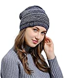 HULKAY Unisex Caps Premium Soft Stretch Pleated Warm Hooded Wool Knitted Hat(Navy)
