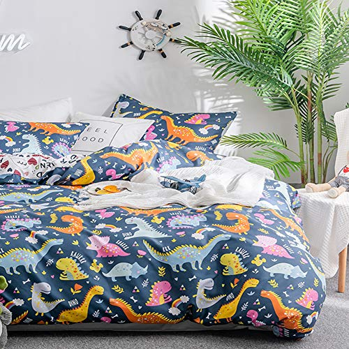 (Dinosaurs Pattern Duvet Cover Set Twin, 2PC Soft Kid Bedding Comforter Cover (1 Duvet Cover + 1 Pillowcase), Dinosaurs Quilt Cover for Boys and Girls(Twin/Blue)