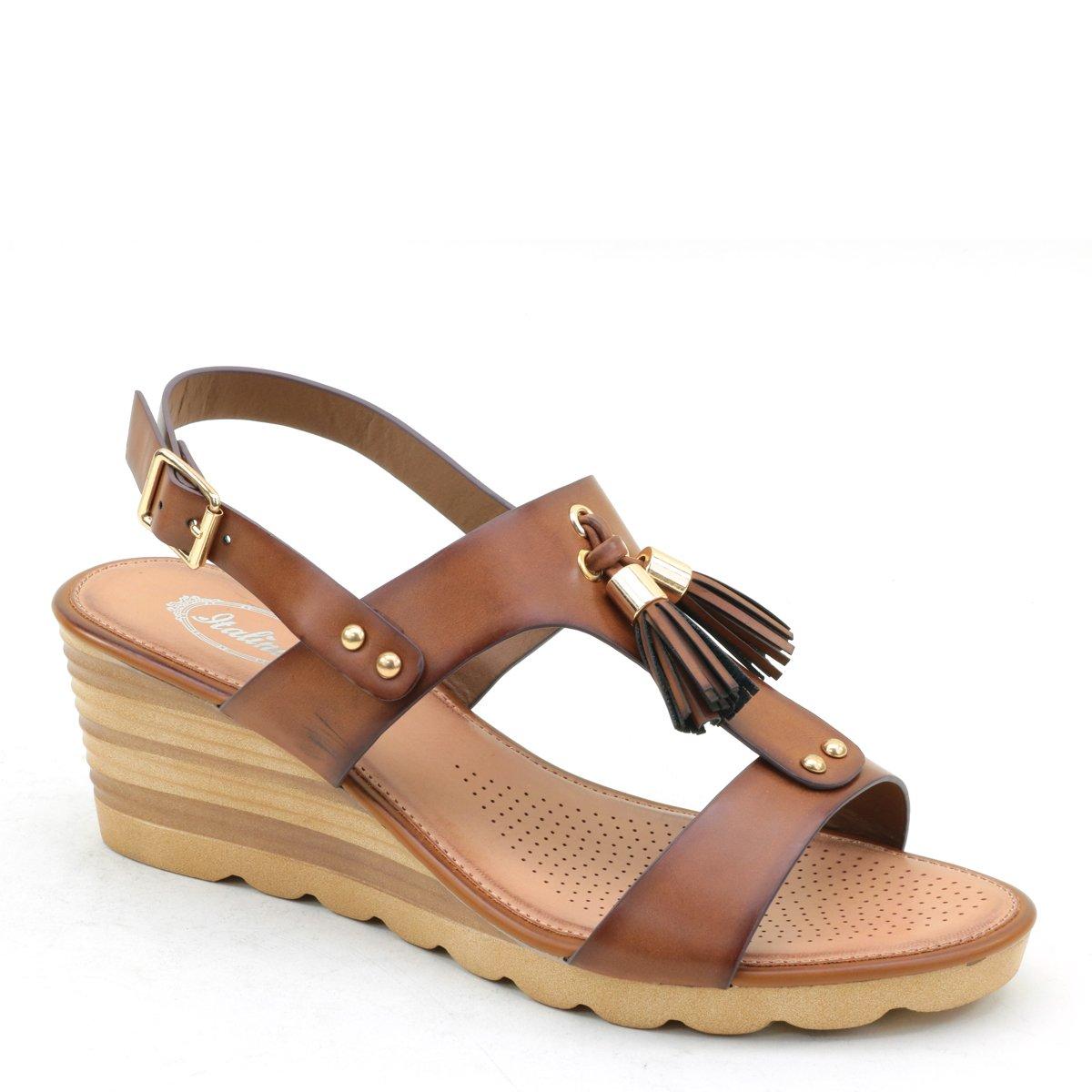 Brieten New Women's Tassels Wedge Comfort Sandals B07DK5865B 10 B(M) US|Brown