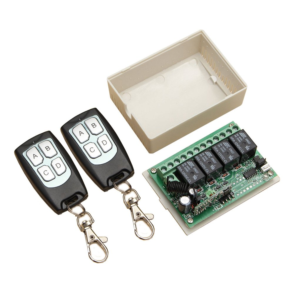Ochoos 315Mhz 12V 4CH Channel Wireless Remote Control Switch Module With 2 Transmitters - Arduino Compatible SCM & DIY Kits