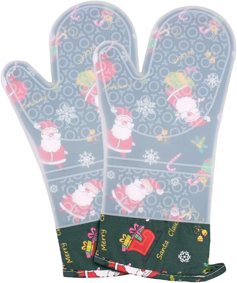 Silicone Oven Mitts, Extra Long Professional Heat Resistant 500℉ Oven Gloves with Quilted Recycled Cotton Liner, Non-Slip Grip Christmas Oven Mitts Set for Baking, Cooking, Grilling (Dark Green)