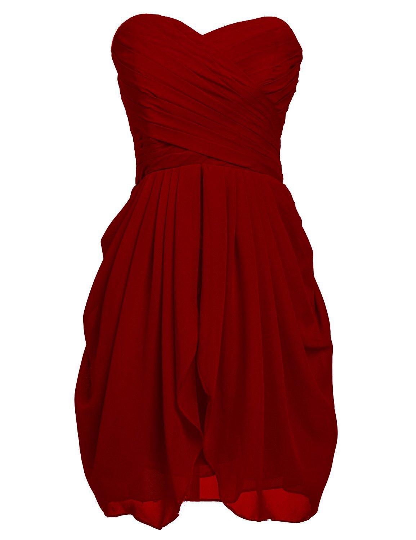 ThaliaDress Women Short Ruffles Evening Bridesmaid Dress Prom Gown T201LF BurgundyUS26W