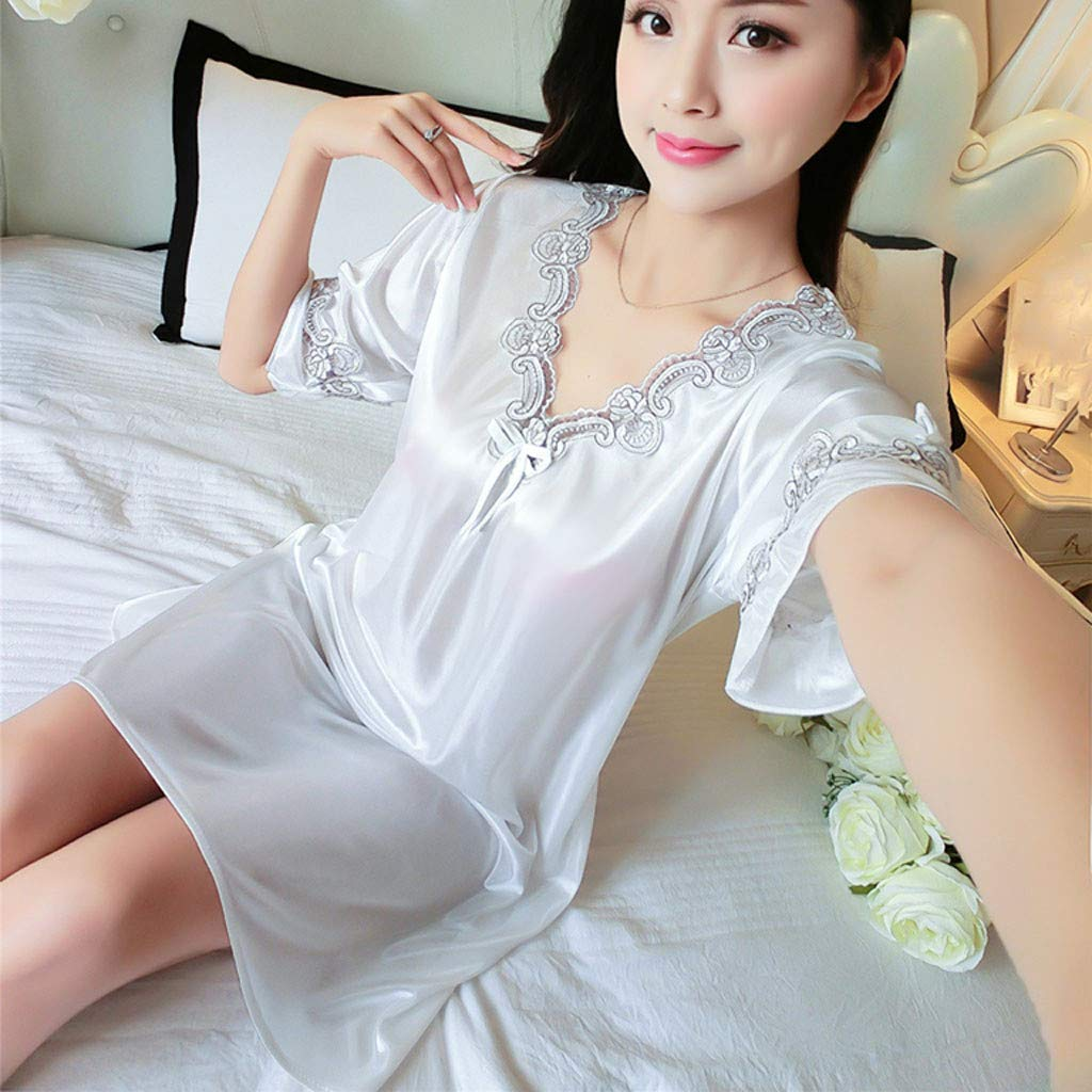 Pervobs Women's Pure Color Short Satin Short Sleeve V-Neck Nightdress Sexy Loose Soft Silk Satin Pajamas Dress Lingerie(Free Size, White) by Pervobs Lingerie & Sleepwear (Image #2)