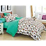 Cliab Owl Bedding Girls Twin Size with Polka Dots Duvet Cover Set 5 Pieces 100% Cotton