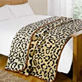 Dreamscene Animal Mink Faux Fur Throw, Leopard, 200 x 240 Centimetres