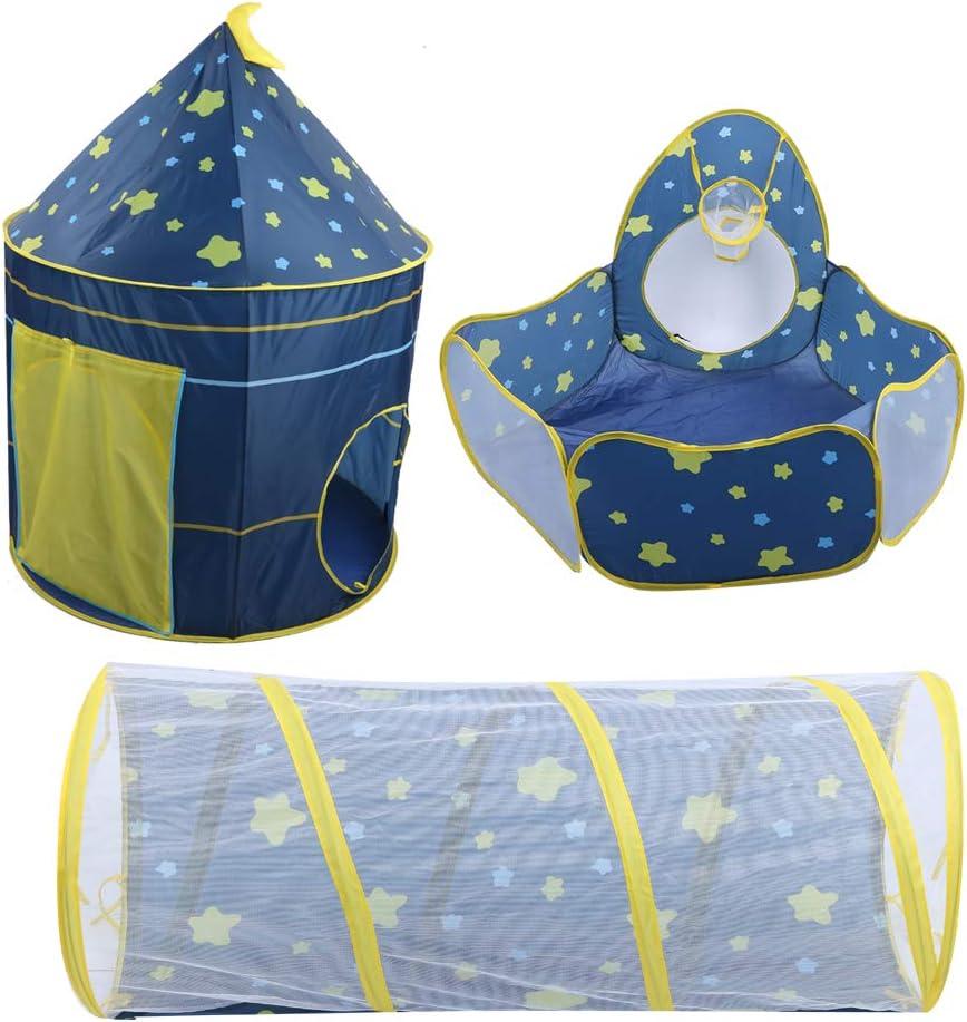 Ausla Pop Up Tenda Giocattolo con Tunnel,Tenda da Gioco per Bambini,Tenda 3 in 1 per Bambini con Piscina di Palline e Tunnel per Gattonare
