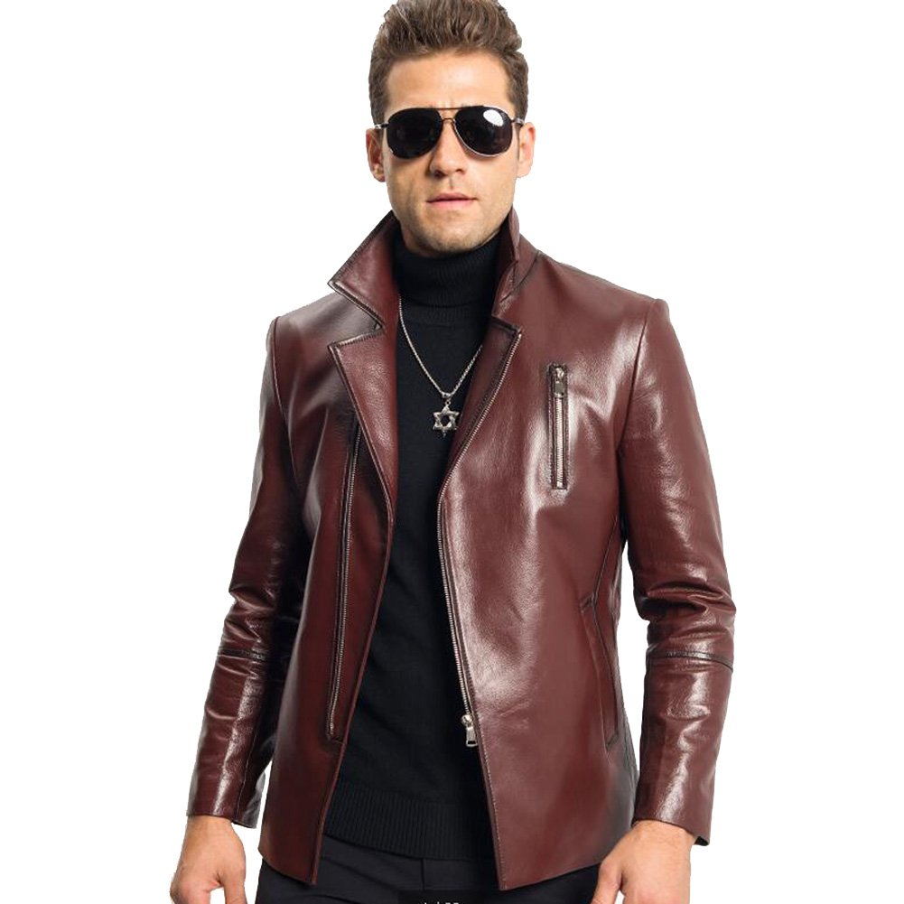 Men's Leather Jacket Red Black Genuine Sheepskin Lapel Coat Casual Business Jacket (XS, Red)