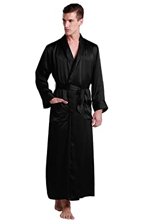 b4d3a7be683a LilySilk Mens Silk Robe 22 Momme Bath Robes Luxury Contra Full Length 100  Mulberry Silk Black