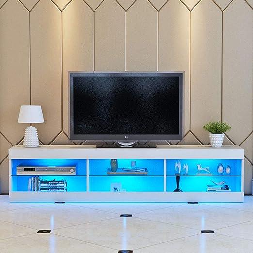 WonderLife - Mueble de TV con luz LED (140 cm), Color Blanco Mate y Azul: Amazon.es: Hogar