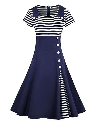 ZAFUL - Vestido - Trapecio o Corte en A - Manga Corta - para Mujer Blau-Kurzarm S: Amazon.es: Ropa y accesorios