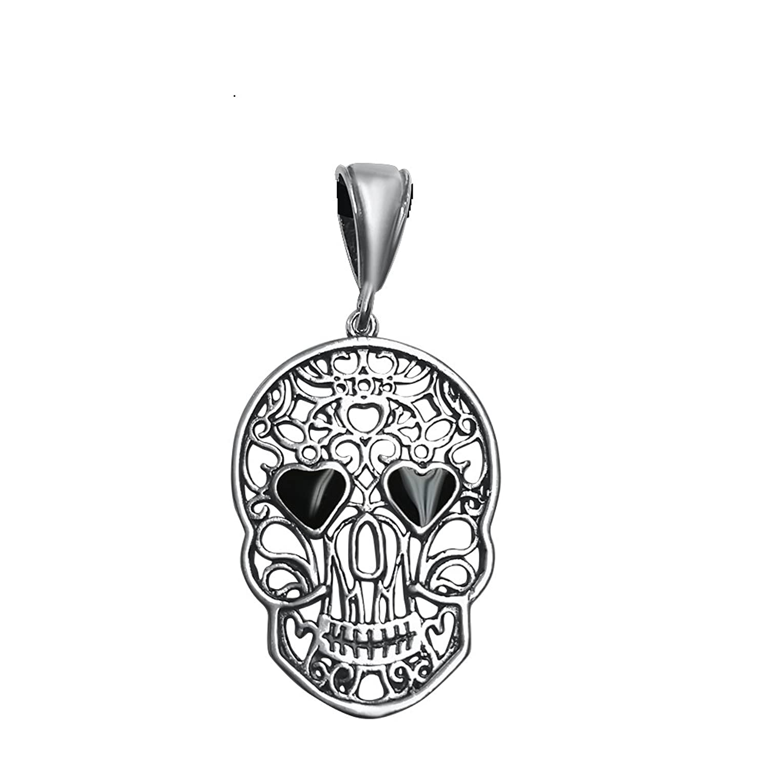 Skull Head with Black Heart Shaped Eyes Pendant Necklace
