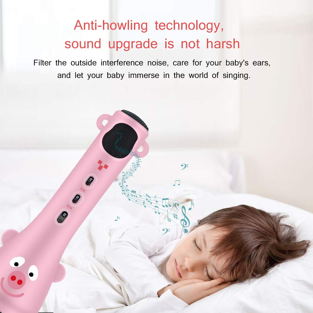 TOSING Kids Wireless Karaoke Microphone Bluetooth Speaker 2 in 1 for Children Girls Toddlers Best Top Toys,Bluetooth Handheld Singing Machine Creative Baby Gift For Birthday and Festival(Pink) by TOSING (Image #7)